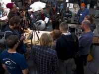 Petr Florianek surrounded during his demo on carving antlers
