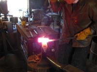 Welding the axe body.  This will take several heats.