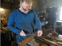 Back to work.  Øystein marks out material for a bit from his old stock of SK7 - the steel preferred by blacksmiths in Scandinavia for the edges of wood cutting tools.