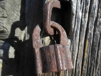 An old lock on the door.