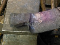 View of the axe blank which is now ready to be folded.