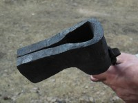 Another view of the folded axe blank.
