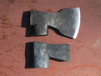 A comparison of the axe-in-progress with the old axe.