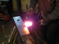 The mandrel is used to maintain the shape of the eye as the welding and shaping continue.