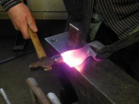 "The first step of welding the bit is to ""pack"" the joint tightly together at a welding heat and even up the edges."