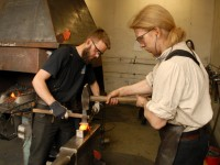 Marcus and Magnus shape the hammer on a special bolster.